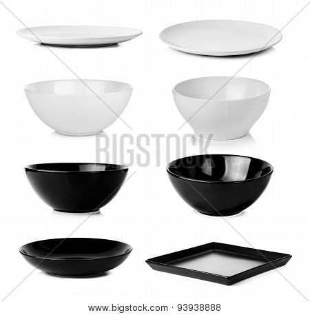 Collection Of Bowl Plate Dish Isolated On A White Background