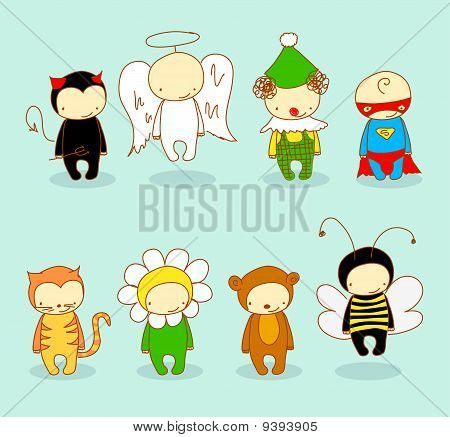 Cute kids in costumes