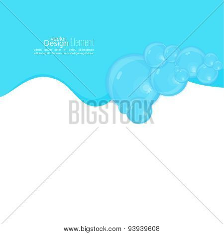 Abstract background with waves of water and bubbles.