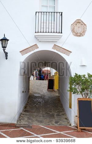Mojacar Almeria white Mediterranean village arch in Spain