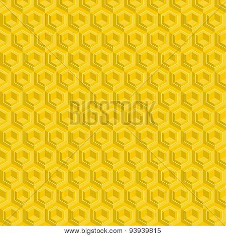 Seamless pattern of yellow glossy honeycombs.
