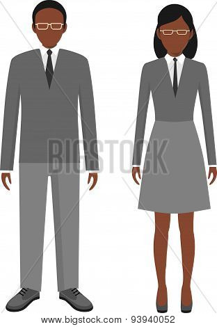 African american ethnic people characters avatars stand set in flat style isolated on white backgrou