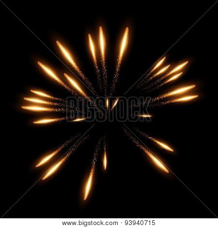 Vector realistic fireworks on black background