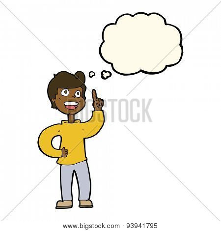 cartoon boy with great idea with thought bubble