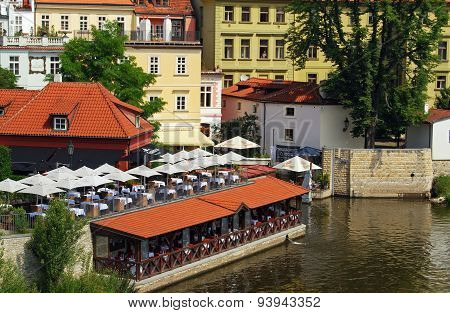 Riverside restaurant, Prague.