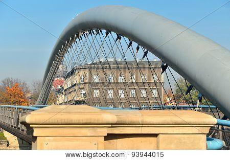 Close-up on pedestrian bridge in Krakow, Poland.