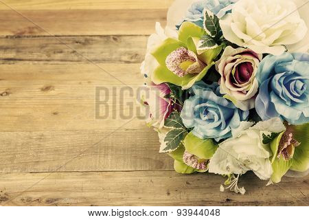 Artificial Flowers On Wooden Background, Vintage Effect