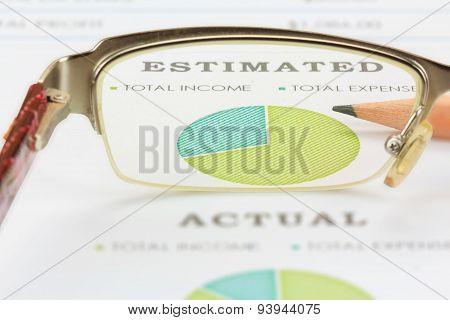 Business Concept, View Through Eyeglasses