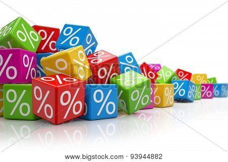 Falling Colorful Cubes With Percent Signs