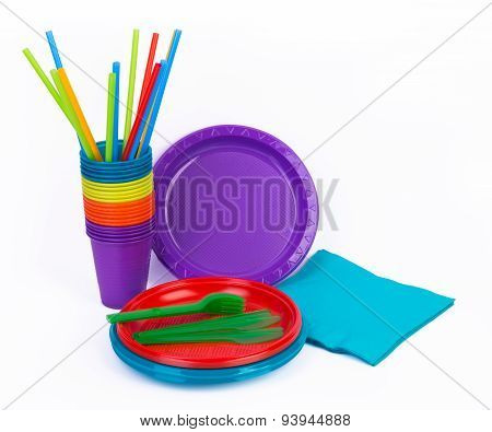Disposable bright plastic kitchenware