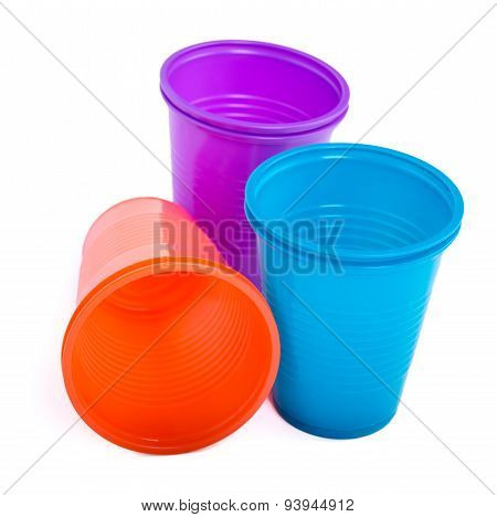 Bright plastic disposable cups