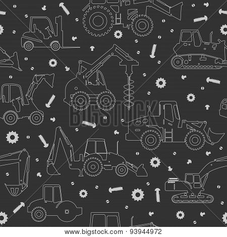 Heavy construction machines seamless background