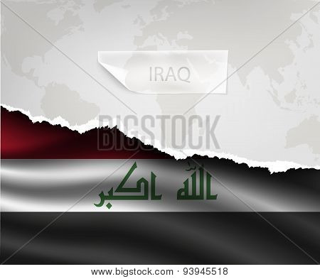 Paper With Hole And Shadows Iraq Flag