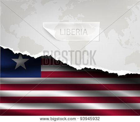 Paper With Hole And Shadows Liberia Flag