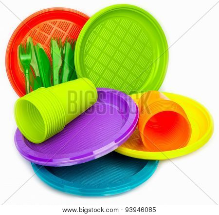 Bright plastic dishes with cups and forks