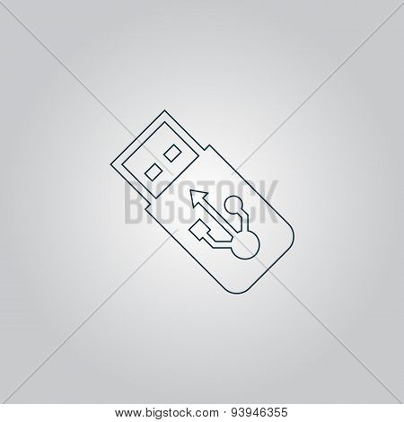 Vector usb flash drive icon on a grey flat button