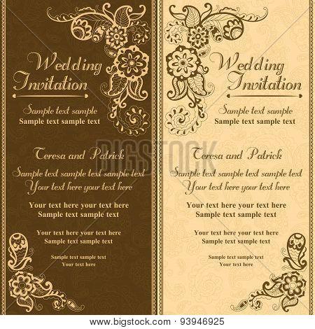 Wedding invitation in turkish style, brown orange
