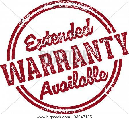 Extended Warranty Available Rubber Stamp