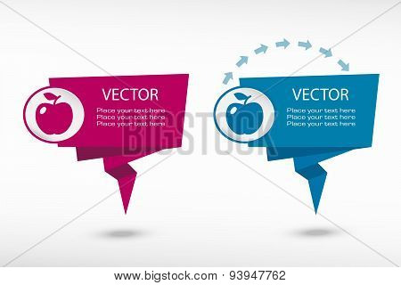Apple Icon On Origami Paper Speech Bubble Or Web Banner, Prints
