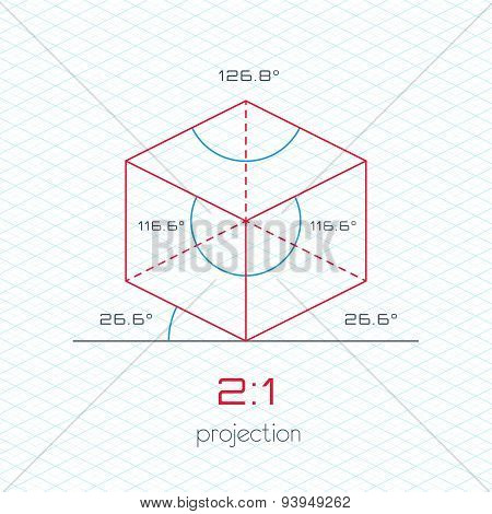 Frame Object In Axonometric Perspective - 2:1 Grid Template