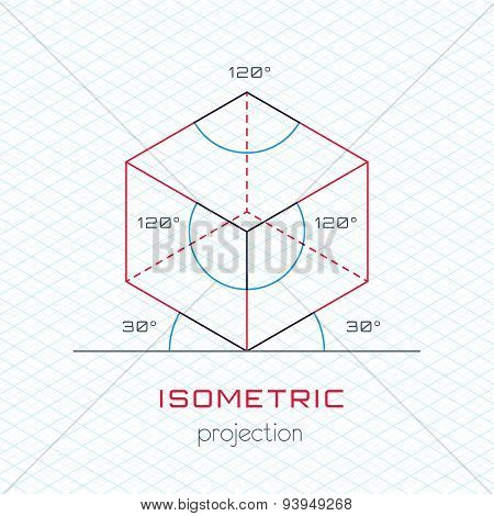 Frame Object In Axonometric Perspective - Isometric Grid Template