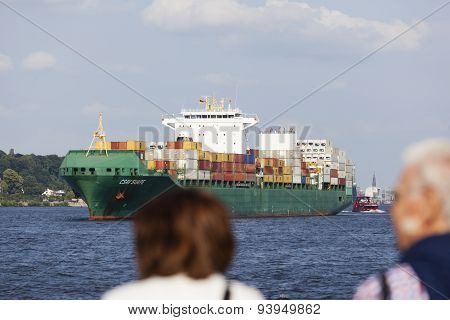 Tourists Watching Container Ship, Editorial