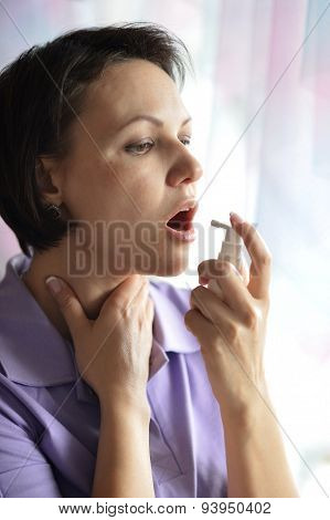 Sick Woman squirting throat