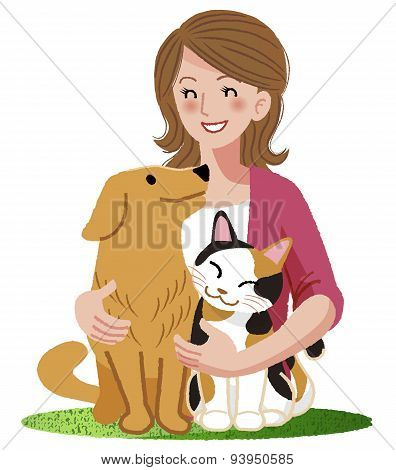 A Woman Smiling With Furry Friends