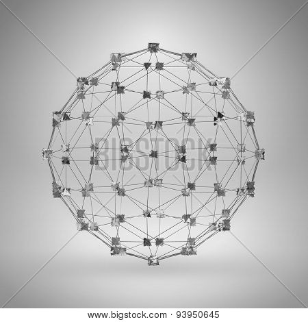3D Sphere With Thin Lines. Vector Wireframe Polygonal Element