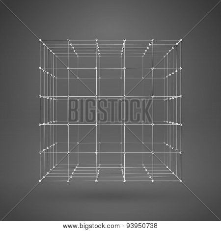 3D Cube With Lines And Dots. Vector Wireframe Polygonal Element