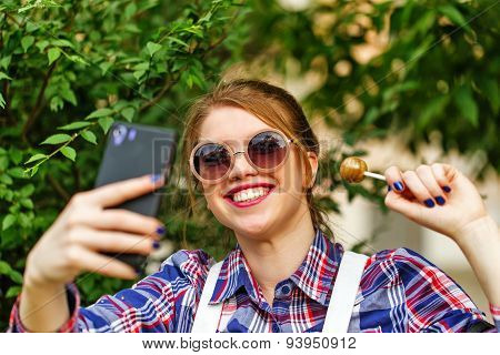 Selfie Hipster Girl With Lollipop