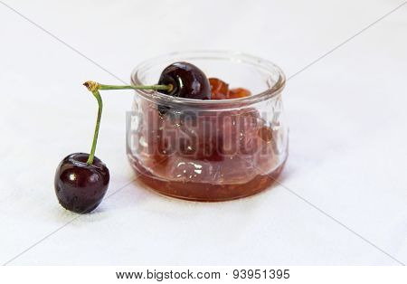Fresh Delicious Dark Red Cherries And Jam