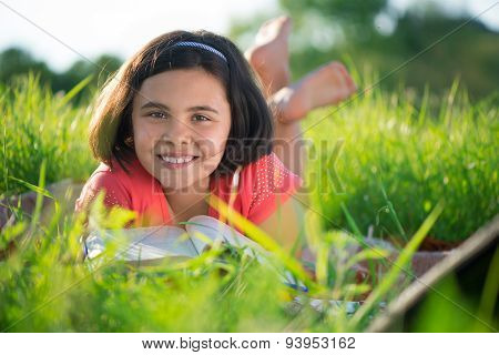 Happy Child Studying On Nature