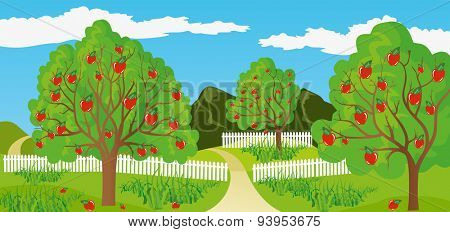Illustration of a rural landscape in a calm and tranquil environment