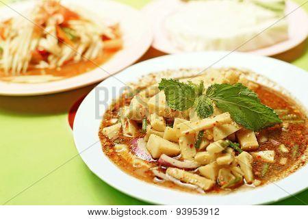 Thai Food, Bamboo Shoot Spicy And Papaya Salad Or Som-tam