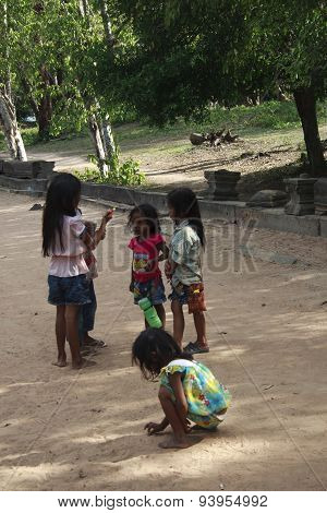 Cambodian Children In Angkor Wat Temple