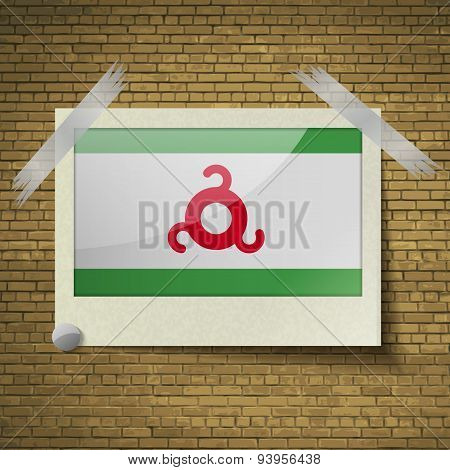 Flags Ingushetia At Frame On A Brick Background. Vector