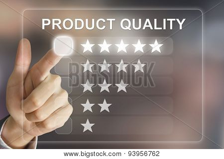 Business Hand Pushing Product Quality On Virtual Screen