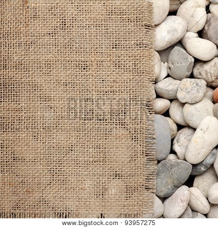 Texture Of  Burlap Fray On River Rock