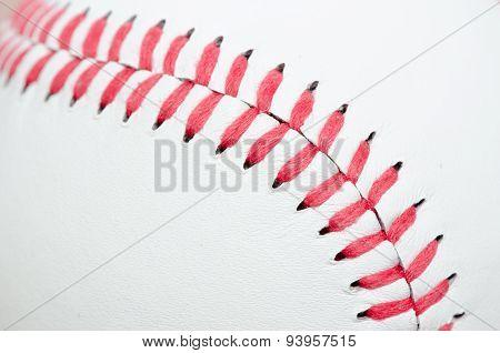 Close-up of Baseball Seam