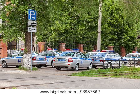 Russian Patrol Vehicles Of The State Automobile Inspectorate On The City Street