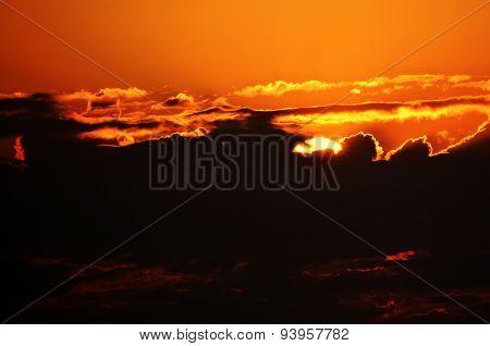 Beautiful Sunset Orange Sky and Clouds in Tirana Albania