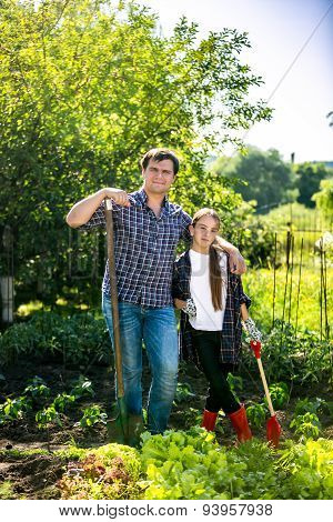 Man And Daughter Spudding Lettuce Garden Bed At Hot Summer Day