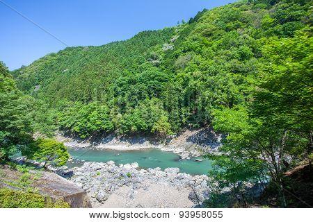Green mountain and river in summer season at Arashiyama Kyoto