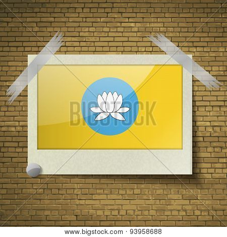 Flags Kalmykia At Frame On A Brick Background. Vector