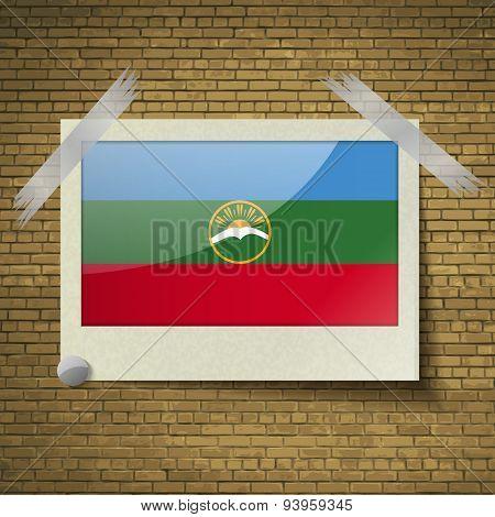Flags Karachaycherkessia At Frame On A Brick Background. Vector