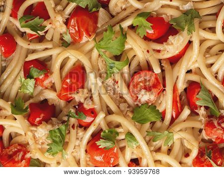 Italian Crab And Cherry Tomato Spaghetti Pasta Food Background