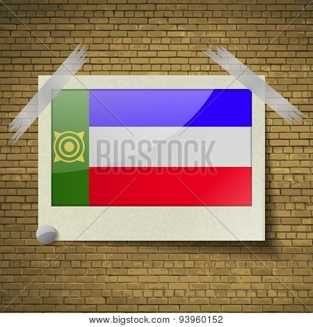 Flags Khakassia At Frame On A Brick Background. Vector