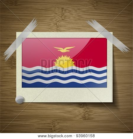 Flags Kiribati At Frame On Wooden Texture. Vector