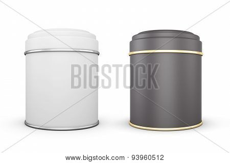 Black And White Cans Of Tea On A White